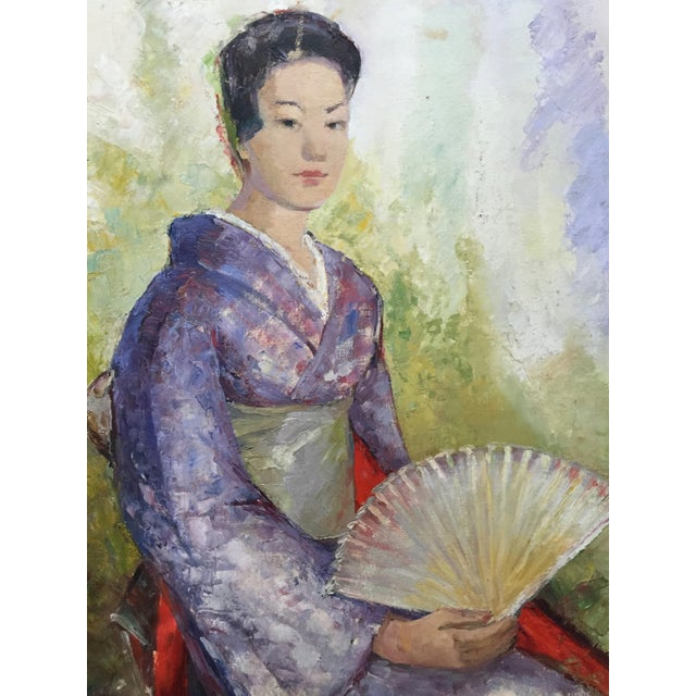 Lovely, oil painting done on canvas board of a Japanese woman wearing a Kimono and holding a fan. This painting is...