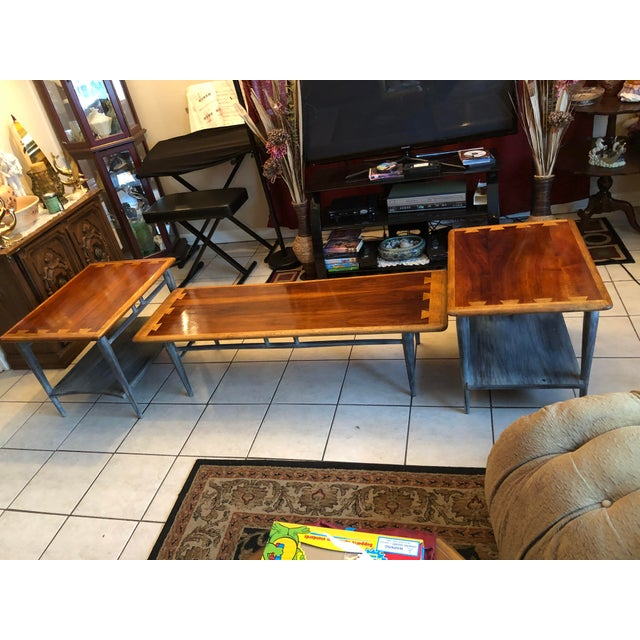Black 1900s Mid-Century Modern Lane Acclaim Dovetail Coffee and Side Tables - 3 Piece Set For Sale - Image 8 of 13