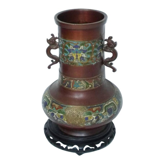 Champleve Enamel Vase With Dolphin Handles For Sale