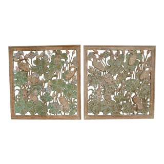 James Mont Style Mid Century Asian Inspired Cranes in Leaves Motif Hand Carved Wood Panels - a Pair