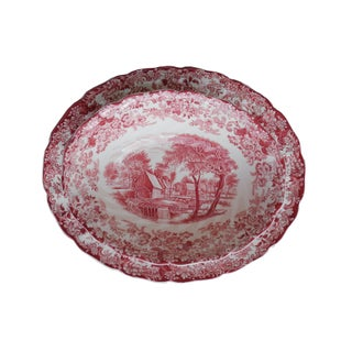 Early 20th Century of Red 'Mill Stream' English Country Transferware Oval Platters and Oval Serving Bowl - 3 Pieces Preview