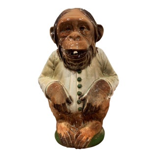 Late 19th Century French Saint Clement Painted Ceramic Barbotine Monkey Pitcher For Sale