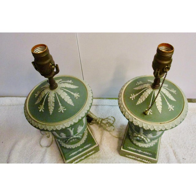 Wedgwood Wedgewood Jasperware Urns Mounted as Lamps - a Pair For Sale - Image 4 of 10