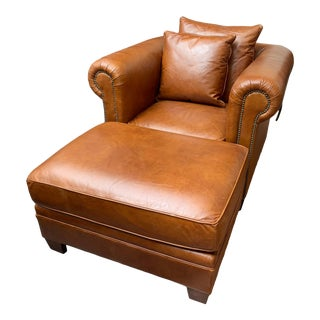Caramel Ralph Lauren Club Chair and Ottoman For Sale