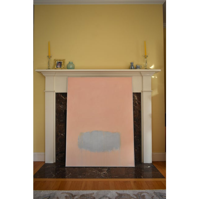 """Wood """"Peachy"""" Large Contemporary Abstract Triptych Painting by Stephen Remick For Sale - Image 7 of 12"""