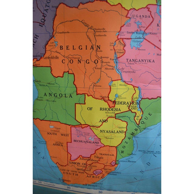 schoolroom geography map of africa 1957 edition chairish