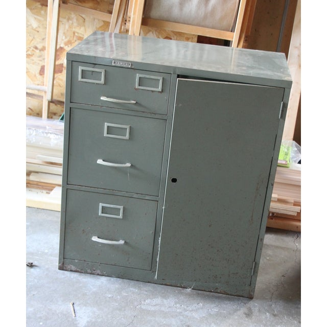 Tower filing cabinet by Sears and Roebuck This piece has some. paint  condition issues as - Vintage Filing Cabinet With Safe Chairish