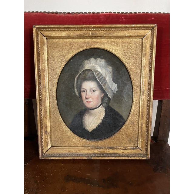 Late 18th Century English Portrait of a Lady Oil Painting Attributed to John Russell, Framed For Sale - Image 13 of 13