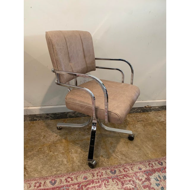 1980s Swivel Rocker Desk Chair For Sale - Image 4 of 11