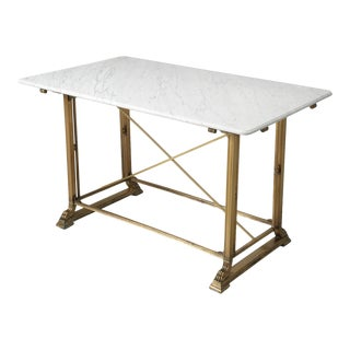 Antique Kitchen Island in Solid Bronze With Honed Carrara Marble Top For Sale