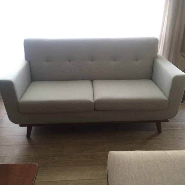 Mid-Century Blue Gray Loveseat - Image 6 of 8