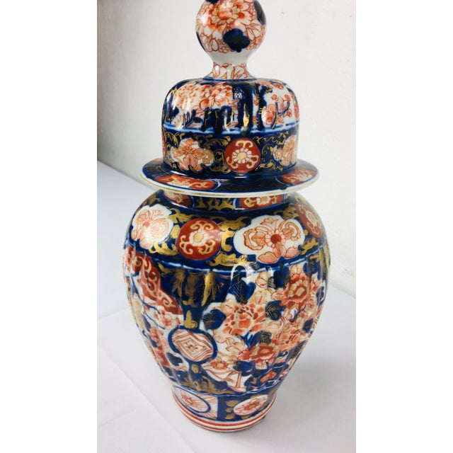 19th Century Hand Painted Japanese Vase With Lid For Sale In Philadelphia - Image 6 of 11