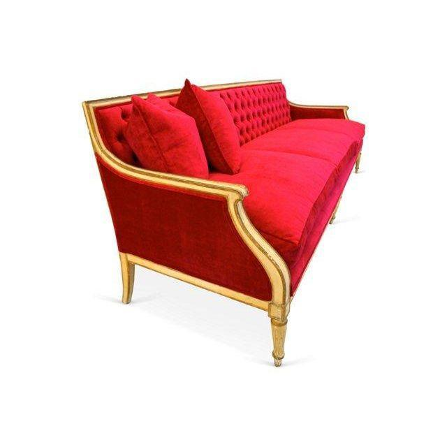 Vintage 1940s Fuchsia Regency Sofa - Image 3 of 6