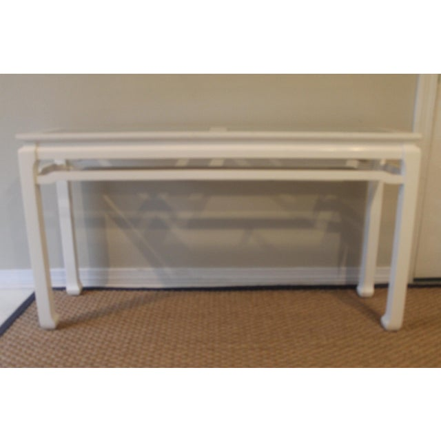 Mid 20th Century Vintage White Ming Fret Work Console For Sale - Image 9 of 9