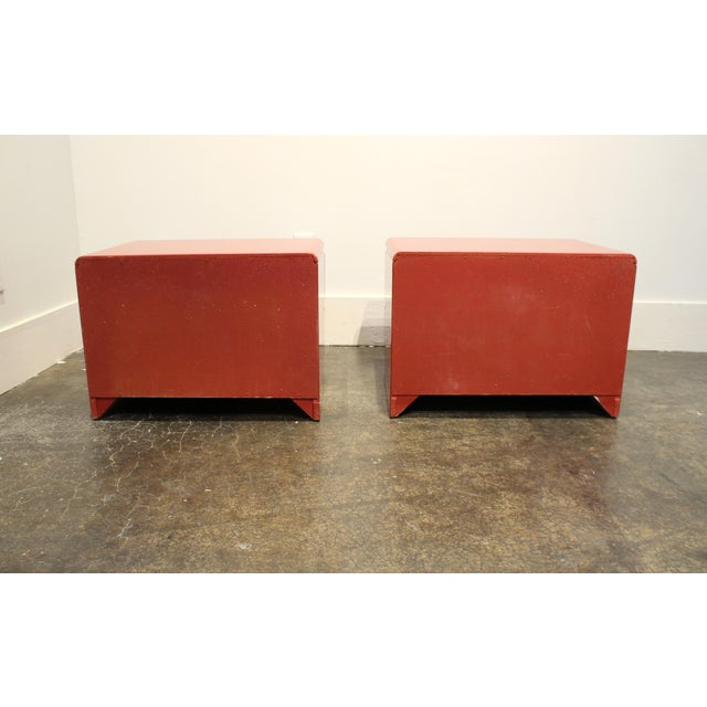 Red 80s Modern Cherry Red Lacquered Nightstands by Roger Rougier For Sale - Image 8 of 11