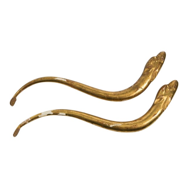 18th Century Gold Leaf Dolphin Shaped Ornaments - a Pair For Sale