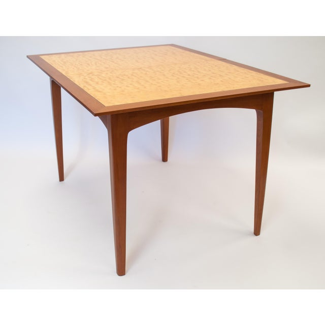 Mid Century Modern Cherry and Quilted Maple Dining Room Table With Leaves