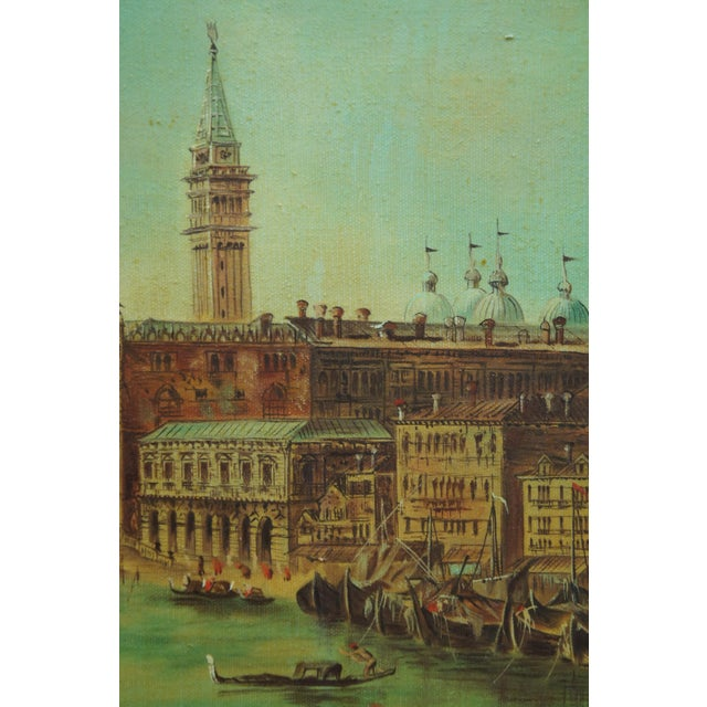 Vintage 20th Century Venice Italy Patin Impressionist Cityscape Oil Painting For Sale - Image 9 of 12