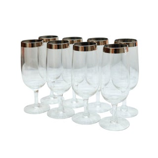 Mid-Century Clear Stamp Wine Glass With Silver Trim - Set of 8