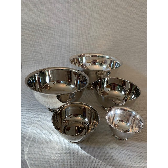 English Set of 5 Silverplate Revere Bowls For Sale - Image 3 of 8
