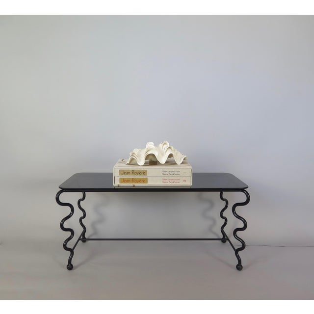 'Serpentine' Coffee Table With Black Glass Top For Sale In Pittsburgh - Image 6 of 13