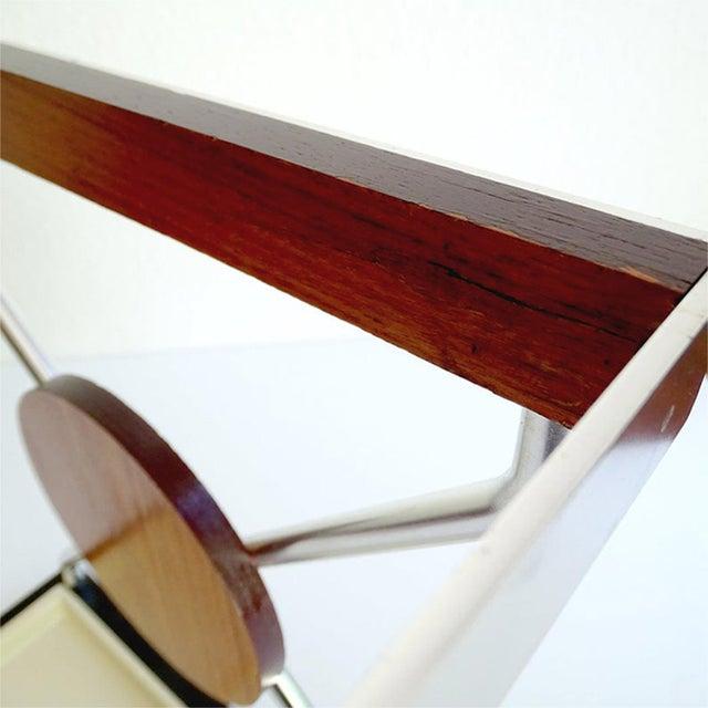 Metal Vintage Danish Midcentury Umbrella Stand in Aluminum and Teak Wood 1960s in Modernist Panton Style For Sale - Image 7 of 10