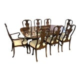 Image of 20th Century Queen Anne Drexel Heritage Heirloom Banded Inlaid Mahogany Dining Set - 9 Pieces For Sale