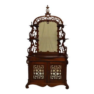 Antique 1800's Carved Walnut Mirrored Sideboard