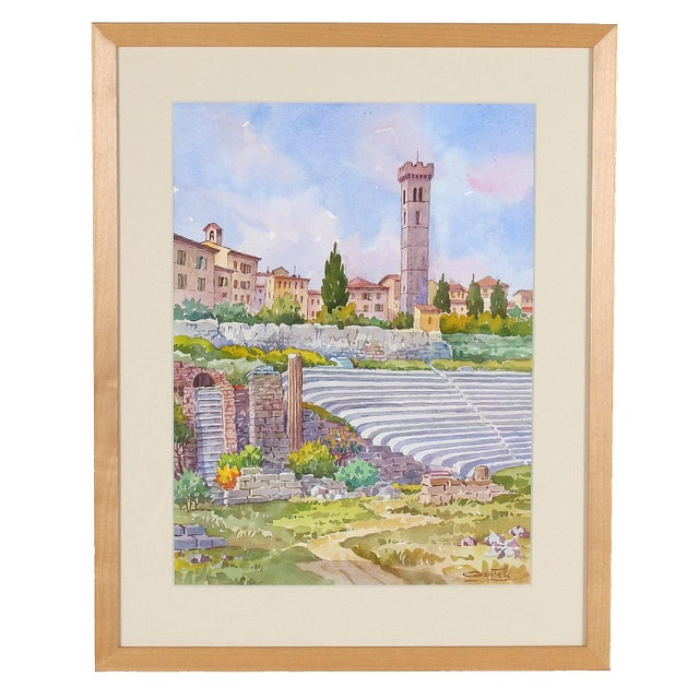 Blue Vintage Italian Watercolor of Fiesole For Sale - Image 8 of 8