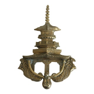 Oversize Pagoda & Monkey Door Knocker For Sale