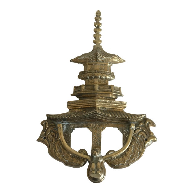Oversize Pagoda & Monkey Door Knocker For Sale