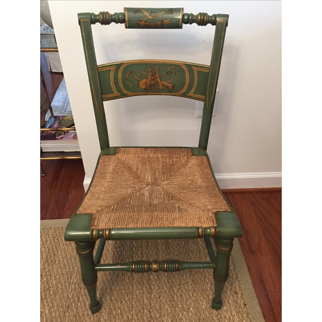 Country Hitchcock Style Painted Rush Seat Chairs- Set of 4 For Sale - Image 3 of 7