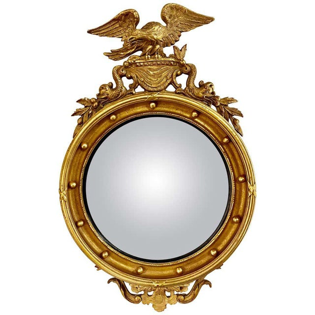 Federal Style Convex Eagle Carved Mirror, Wall, Console Mirror For Sale - Image 13 of 13