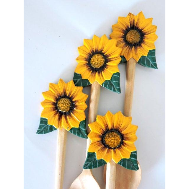 Boho Chic Vintage Hand Carved Summer Sunflower Spoons - Set of 4 For Sale - Image 3 of 4