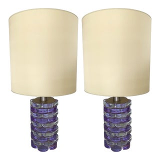 Pair of Lamps Pressed Glass by Biancardi and Jordan Arte, Italy, 1970 For Sale