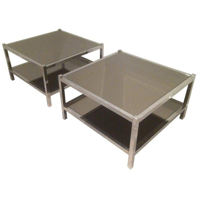 Pair of Large Chrome Side Tables with Bronzed Mirrors - Image 11 of 11