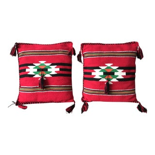 Late 20th Century Woven Southwestern Style Pillows - A Pair For Sale