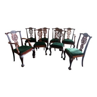 Early 20th Century Vintage Georgian Style Dining Chairs- Set of 8 For Sale