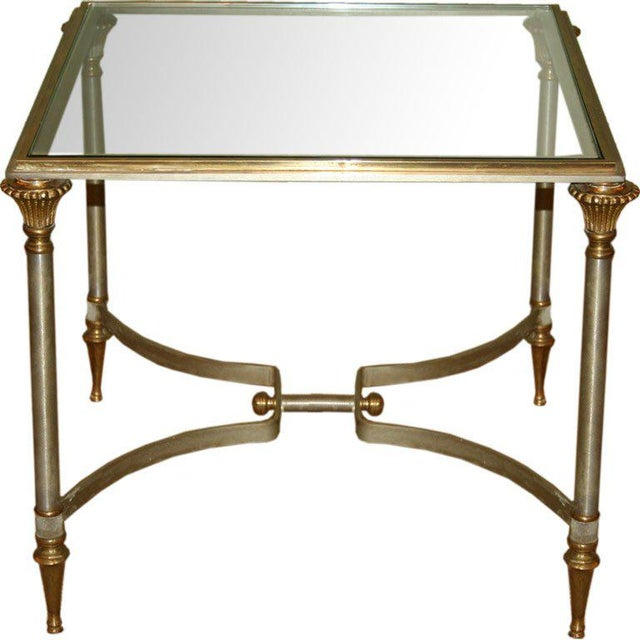 Small Italian Steel and Glass End Table For Sale - Image 11 of 11