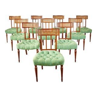 Set of Ten English Regency Mahogany Caned Dining Chairs For Sale