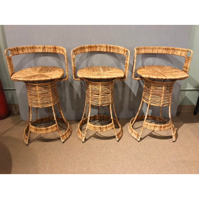 Nautical Cane Woven Bar Stools - Set of 3 For Sale - Image 11 of 11