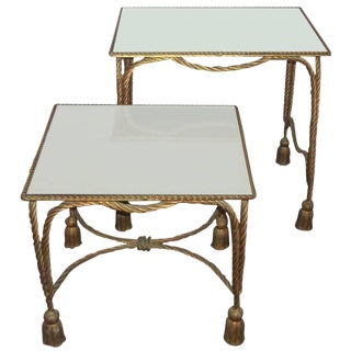 Pair of Bronze and Mirror Stack Tables For Sale