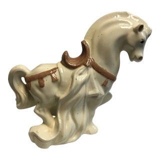 Mid-Century Ceramic War Horse Figurine For Sale
