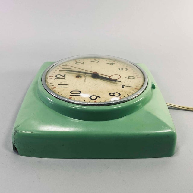Vintage 1950s Mid Century Modern General Electric Teal Green Kitchen Clock Tested Usa Chairish