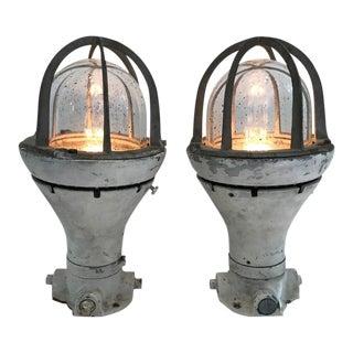 Pair of Vintage Ship Deck Lights