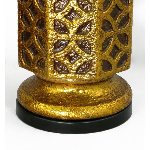 Pair of Moroccan-Style Gilt Arabesques Table Lamps For Sale - Image 4 of 4