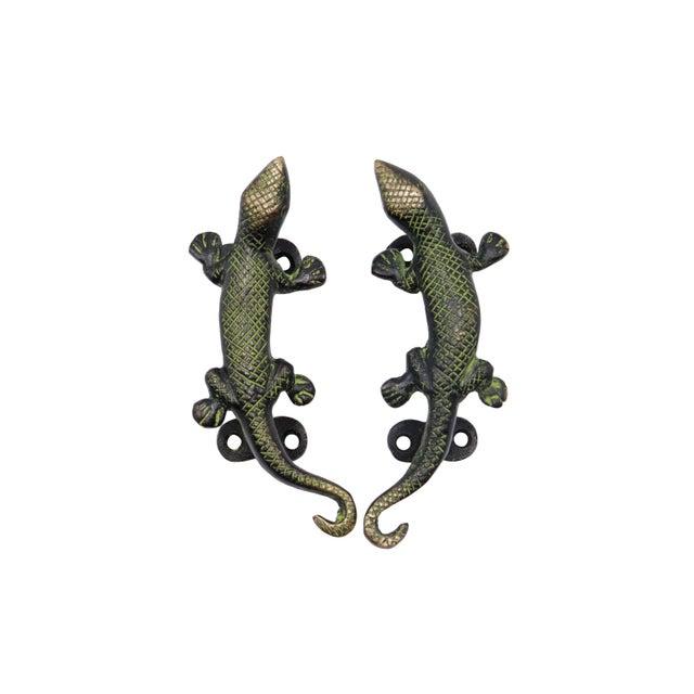 Green Brass Lizard Door Handles - a Pair For Sale - Image 4 of 4