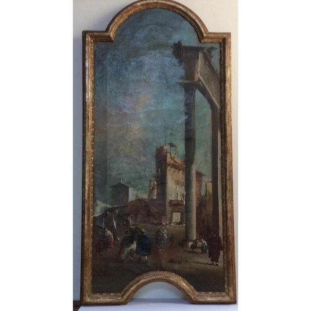 Canvas 18th Century Italian Guardi Style Painting For Sale - Image 7 of 11
