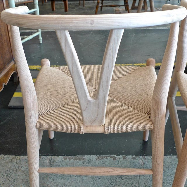 Contemporary Danish 1960s Style Wishbone White Oak Riff Wood Arm Chairs - Set of 6 For Sale - Image 9 of 13