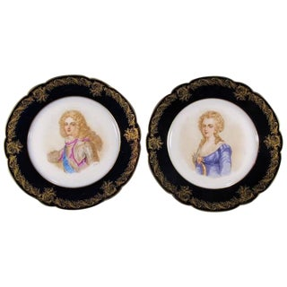 19th Century Antique French Sevres Porcelain Plates, Signed - a Pair For Sale